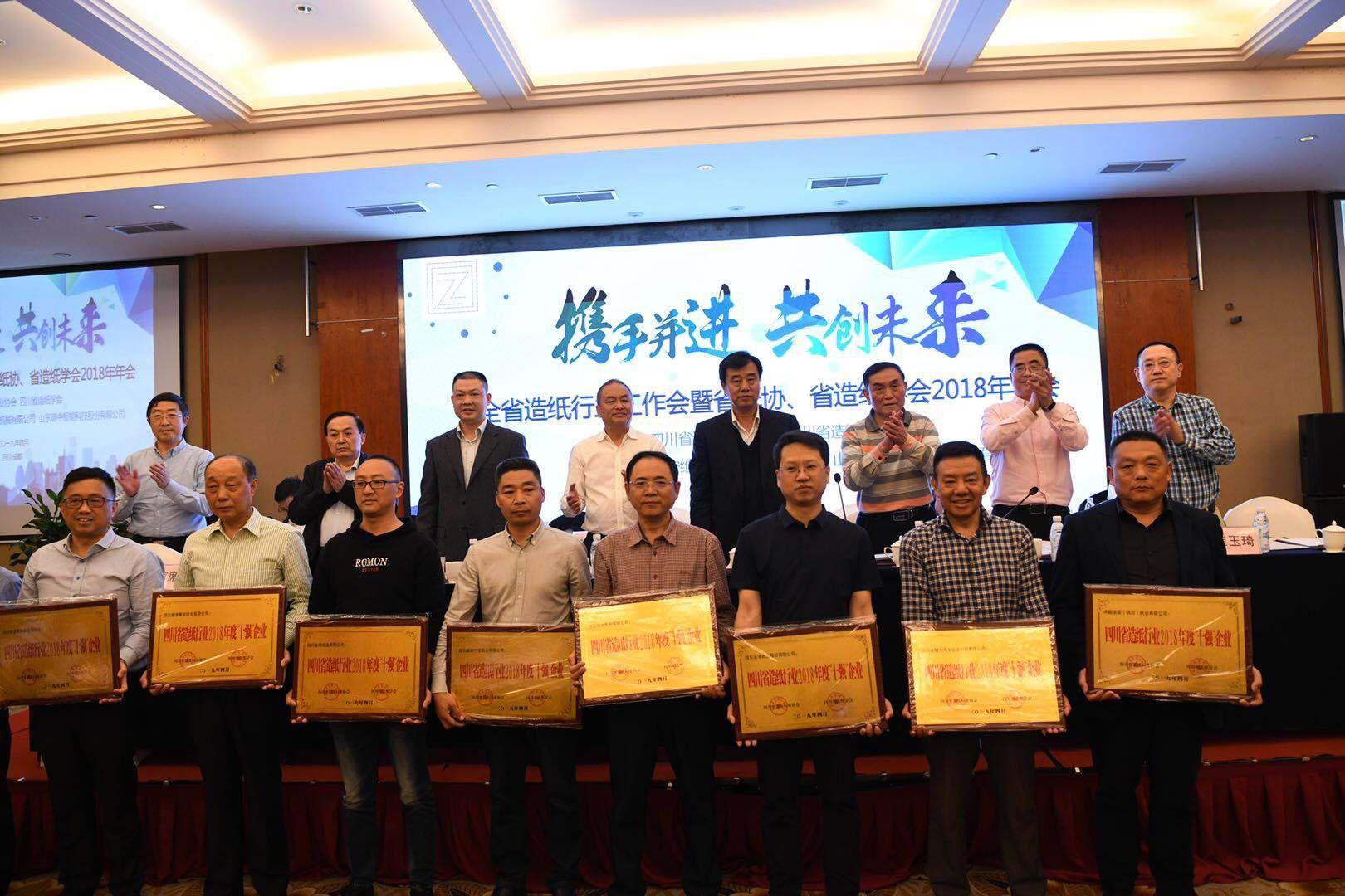 """省纸协、学会2018年年会上参会领导向2018年""""十强""""企业颁发奖牌"""